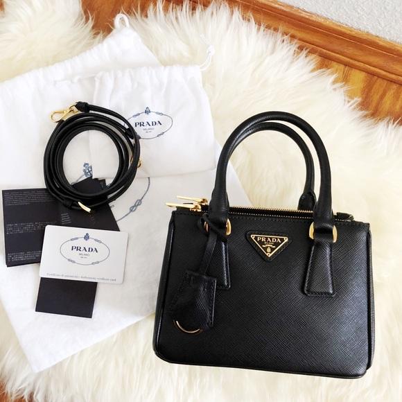 d971758ee77e PRADA Mini Bandoliera Saffiano Lux in Black. M 5b9d516d34a4ef0dfa620551